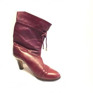 Vintage 70s Burgundy Leather Drawstring Ankle Boot